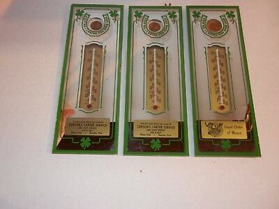 3 Vintage 1951 Advertising Mirrors With Coins And Thermometers- View Photos