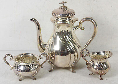 Vintage Cohr Denmark Silver Plated Tea Pot With Sugar And Creamer Set