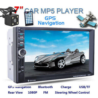 "7"" 2 DIN BT GPS Navigatore Car Autoradio Stereo FM USB SD MP5 Player +CAM"