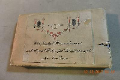 Victorian engraving print block Kindest Remembrances Good Wishes for Christmas