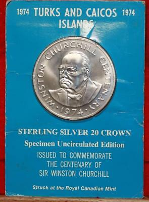 Uncirculated 1974 Turks & Caicos 20 Crowns Silver Foreign Coin Free S/H
