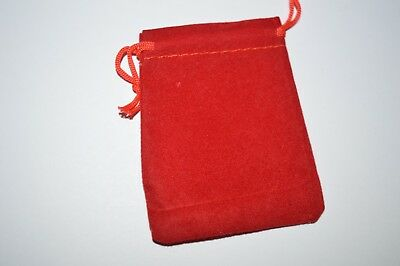 "Red Velvety Cloth Jewelry Bag 2"" X 3"" Lot of 10"