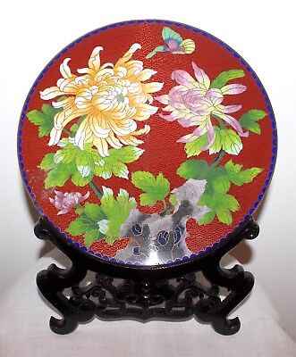 Midcentury 50s Chinese Cloisonné Enamel Chrysanthem Butterfly Plate+Carved Base