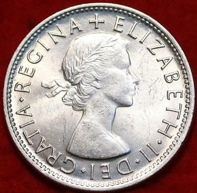 Uncirculated 1953 Australia Florin Silver Foreign Coin Free S/H
