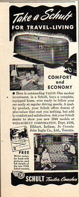 1948 Print Ad Schult Travel Trailers Comfort & Economy Elkhart,IN