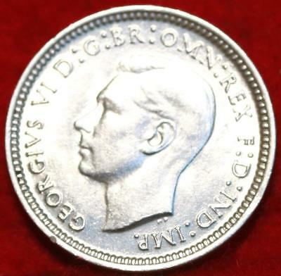 Uncirculated 1942 Australia 3 Pence Silver Foreign Coin Free S/H