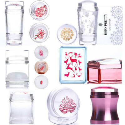Rose Gold Clear Jelly Silicone Nail Art Stamper & Scraper Stamping Tools Kit DIY