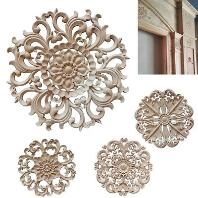 Newly Wood Applique Hollow Carving Round Decal Flower Leaf Shaped Carve Crafts