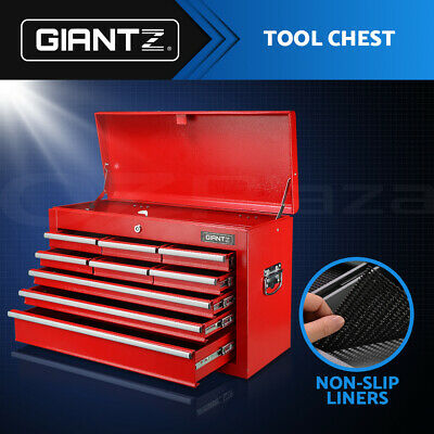 Giantz 9 Drawers Mechanic Toolbox Storage Chest Cabinet Garage Trolley Tool Box