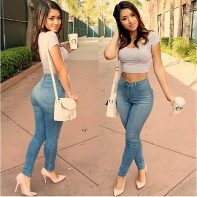 Women Pencil Stretch Slim Blue Denim Skinny Jeans Pants High Waist Trousers