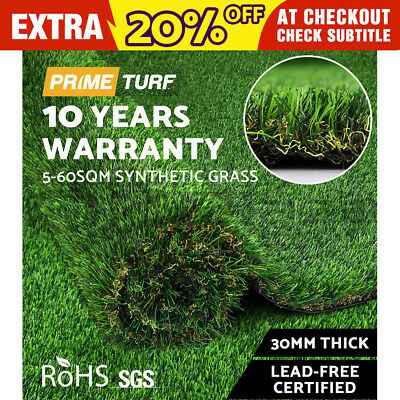 Primeturf 5-60 SQM Synthetic Turf Artificial Grass Plant Fake Lawn Outdoor 30mm