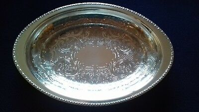 "11"" Silver Plate Oval Chased Bread Fruit Food Serving Bowl / Dish / Deep Tray"