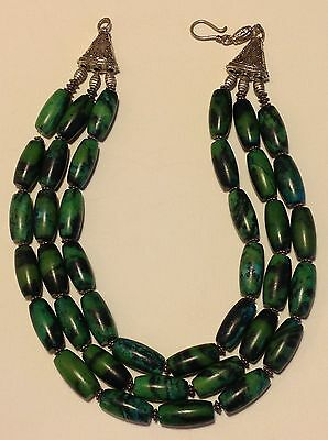 Antique Chinese silver American carved Malachite bead necklace 262 gram (m1211)