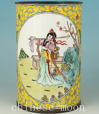 Chinese colour enamels Cloisonne Hand Painting Belle Statue Brush Pot  vase
