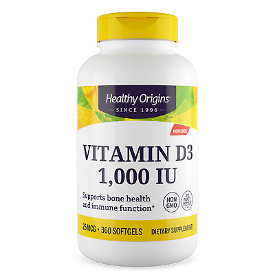 Vitamin D-3, 1000iu x 360 SoftGels, Healthy Origins, UK Stocks, 24Hr Dispatch