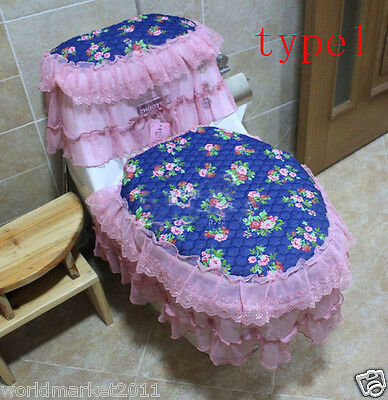 3X Lovely Style Practical S 45 * 36 CM Fabric Blue Three-Piece Toilet Covers