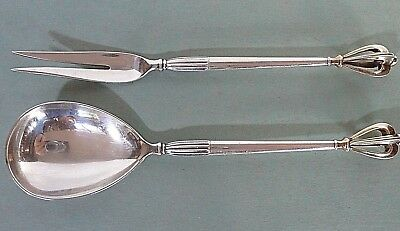"Sterling Fork & Spoon Servers W/ Stylized Open Crown End, Denmark ""cch"" Maker"