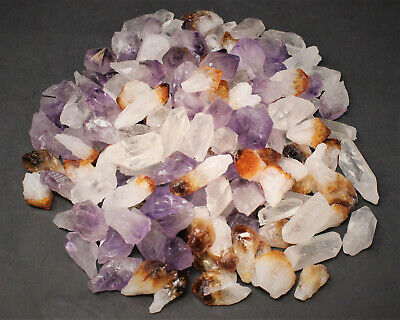 1/4 lb Bulk Mix Amethyst + Citrine + Clear Quartz Crystal Points Collection 4 oz
