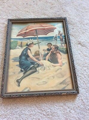 Bathing Beauty Lithoed Print  1890's Framed Original & Old Full Suit