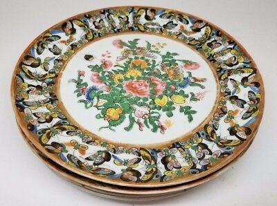 Antique Chinese Set of 5 Porcelain 1000 Butterflies Pattern 19th Century Plates