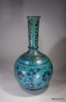 Antique Islamic / Persian Kasham Turquoise Bottle Vase