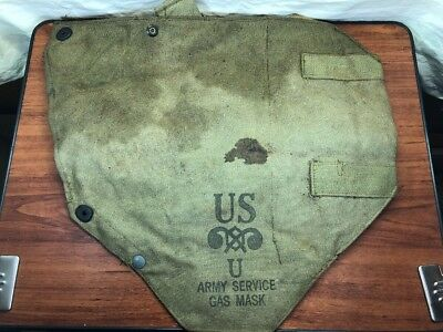 Vintage 1930's WW2 U.S. Military M1A2 Gas Mask Bag Pouch Army Marines