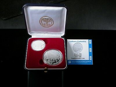 Israel 1998 2 Coin Silver Proof & Proof-like Set in capsules with Original Box