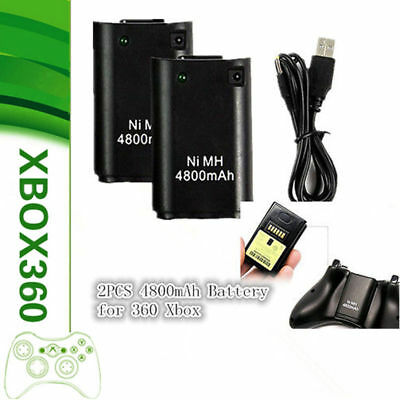 2x FOR XBOX 360 4800MAH RECHARGEABLE BATTERY PACK PLUG PLAY CHARGER CABLE BLACK