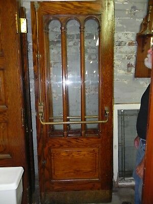 Vintage Wpa Era Oak French Doors With Arched Glass & Original Hardware