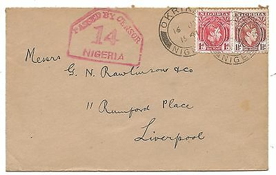 WW2 Okrika - Port Harcourt - Liverpool Nigeria Censored Cover 1941