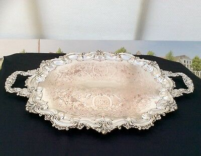 "Large 28"" 19th Century Victorian Silver On Copper Footed Butler Serving Tray"