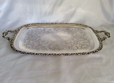 "Large 27.5"" 19th Century Victorian Silver On Copper Footed Butler Serving Tray"