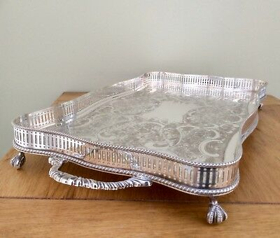 "Fine Quality 22"" Sheffield Silver On Copper Serpentine Gallery Tray Claw Feet"