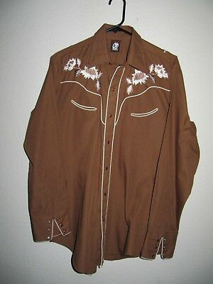 """Vtg. KARMAN Peal Snap Embroided Western Shirt - Mens L (46"""" chest)"""