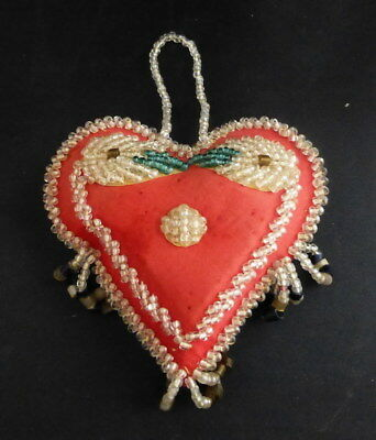 Antique  IROQUOIS Indian Beaded Heart Shaped Whimsy Pin Cushion