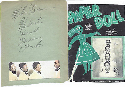 The Mills Brothers...vintage In Person Genuine Hand Signed Album Pagae By All
