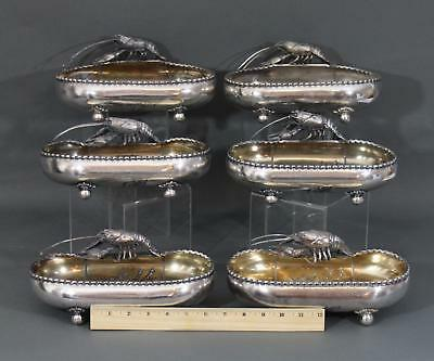 6 Antique Wilcox Silverplate Figural Crayfish & Cherry Tree Serving Dish Bowls