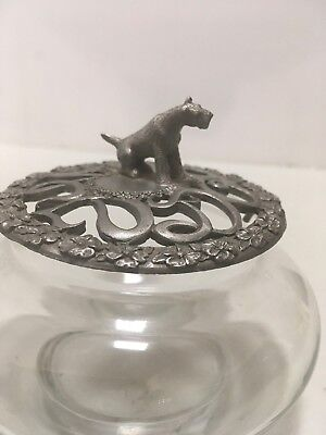 Airedale Irish Welsh Wire Fox Terrier Glass Jar With Pewter Top With Dog On It