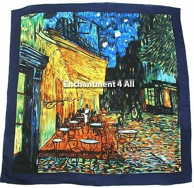 "Handmade 35""x35"" 100% Silk Art Scarf Wrap w/ Van Gogh's ""Cafe Terrace At Night"""