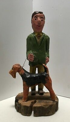 Antique, 1974, Oak Hand Carved Wooden Airedale With Handler