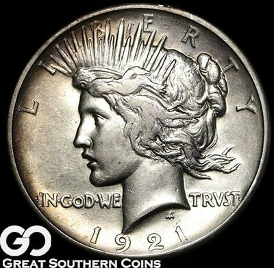 1921 Peace Dollar, Sought After Key Date First Year Issue!