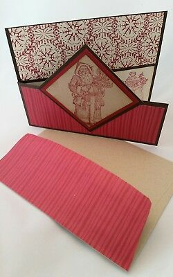 Lot of 6 Vintage Style Christmas cards made w/Stampin' Up! w/matching envelopes