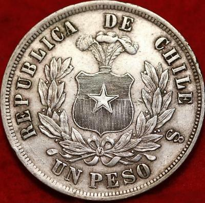 1876 Chile One Peso Silver Foreign Coin Free S/H