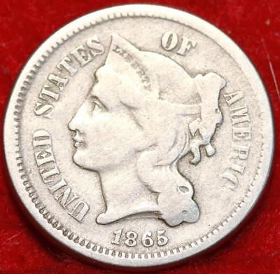 1865 Philadelphia Mint Silver Three Cent Coin Free Shipping