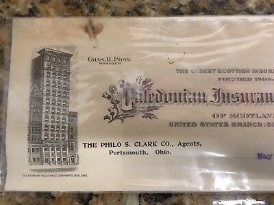Rare 1917 Letter Head Caledonian Insurance Co.of Scotland Portsmouth,Ohio