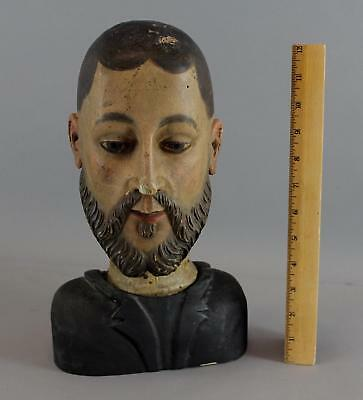 Antique 19thC Italian Carved, Painted Wood Sculpture Fragment Santos Saints Head