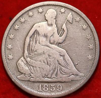 1859-O New Orleans Mint Silver Seated Half Dollar Free Shipping