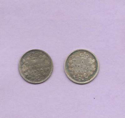 Canada 1874 plain 4 and 1874 crosslet 4 Silver 5 Cents