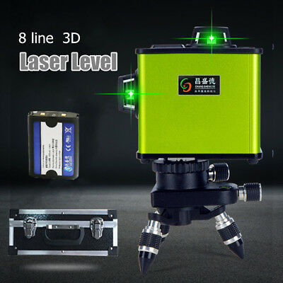 Laser Level 8 Line 3D Green Auto Self Leveling 360° Rotary Cross Measure Tool