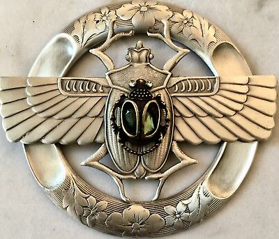 """BRASS EXTRA SUPER LARGE 2 1/2"""" INCH Stamped Brass Vintage""""JEWELED SCARAB""""Button"""